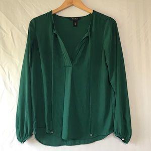 White House Black Market Emerald Chiffon Blouse